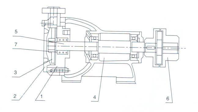 w型单级悬臂式旋涡泵(结构图)